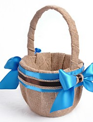 Linen Blue Ribbon Bow Flower Basket Flower Girl Basket