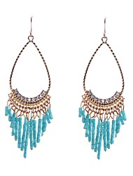 Fashion Stone Set Tube Beads Drop Earrings