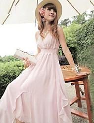 Women's Surplice Neck Pleated/Ruched Plus Size Dress , Chiffon Maxi Sleeveless