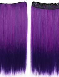 24 Inch Long Clip in Synthetic Straight Hair Extensions with 5 Clips Ombre Purple