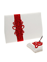 Red Polyester Banding Wedding Guest Book and Pen Set Sign In Book