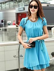 Robe Aux femmesCouleur Pleine Mi-long Manches Courtes Bleu / Rose / Noir Polyester Printemps / Eté