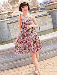 Maternity Camisole Floral Beach Dress High Waist Pregnant Women Sleeveless Braces Skirt