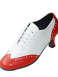 Customizable Women's Dance Shoes Swing Shoes Leatherette Chunky Heel Red