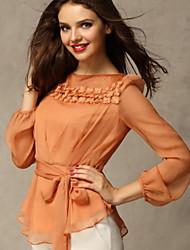 Women's Dress Shirts , Acrylic/Chiffon/Cotton/Cotton Blend Casual Nuoweisi