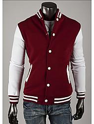 LangTuo Classic Baseball Slim Short Type Hoodie Cardigan Coat(Wine)