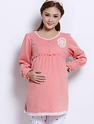 High Waist Korean Style Knitted Maternity Top and Pregnant Women Clothes Fall