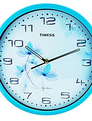 "Timess ™ 12 ""H Crystal Blue Flowers super stummer Metallic Wanduhr"
