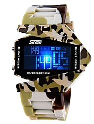 SKMEI® Men's Army Style Multi-Functional Colorful LED Camouflage Silicone Band Wrist Watch (Assorted Colors) Cool Watch Unique Watch Fashion Watch