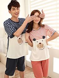 Striped Design Couple Pajamas with Bear Printing