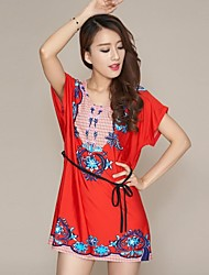 Women's New Foreign Trade Vintage Floral Print Dress Big Yards  (Cropped Random)