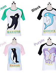 Kostenlos! Haruka (Grün) / Makoto (Black) / Nagisa (Pink) / Rei (Purple) Cosplay-T-Shirt