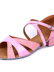 Shoes Show Girl's Leather Arch Strap Chunky Heel Exercise Dance Soft Sole Heel 3CM(Pink)