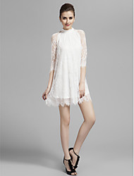 Homecoming Cocktail Party/Prom/Holiday Dress - White A-line High Neck Short/Mini Lace