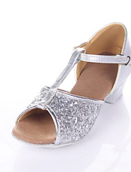 Non Customizable Women's/Kids' Dance Shoes Latin/Ballroom Sparkling Glitter Chunky Heel Silver/Gold
