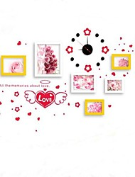 Yellow White Mixed Color Photo Frame Collection Set of 6  with Red  Love Wall Sticker & DIY Wall Clock
