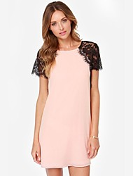 Women's Lace Pink Dress , Lace Round Neck Short Sleeve Lace