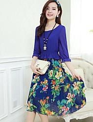 Women's Dress,Floral Midi ½ Length Sleeve Blue Summer