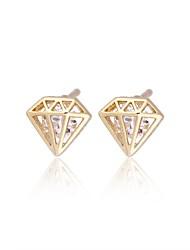 Women's Fashion Flower Design 18K Gold Zircon Earrings