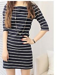 Women's Black/White Dress , Casual ½ Length Sleeve