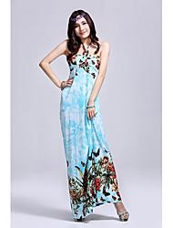 Mujeres Shangmei de Bohemia de la impresión floral vestido largo (patrón aleatorio)