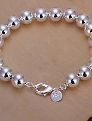 Fresh Sweet  Women's  Hollow Buddha Beads Silver Plated Brass Chain & Link Bracelet(Silver)(1Pc)