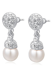 RIM Elegant Austria Crystal Olivet Alloy Earrings-Earrings: 2.6*0.8cm