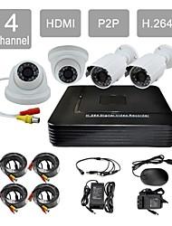 p2p hdmi 4 canaux kit h.264 dvr 4x420tvl ir caméra dôme + ir système de sécurité CCTV caméra étanche