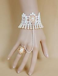 InOne Vintage White Pearl Bracelet dentelle avec anneau