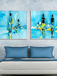 Abstract Art People Framed Canvas Print Set of  2