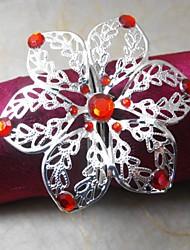 Crystal Flower Napkin Ring,Metal, 4CM, Set of 12,
