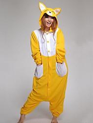 Bande dessinée adulte animal jaune Fox Polaire Kigurumi pyjama
