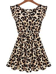 вскользь платье леопарда songyi женщин