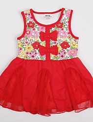 kinderen jurk mouwloze kanten mesh jurk zomer bloemenprint met strik meisje jurken willekeurige afdruk