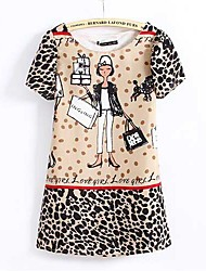 2015 New Fashion Summer Dress Short Sleeve O Neck Cartoon Girl and Leopard Printed Chiffon Casual Dresses