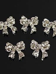 10pçs de brilhante charme laço completos strass claras liga 3d arte decoração de unhas