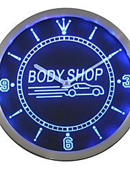 atelier de carrosserie signe de néon led horloge murale
