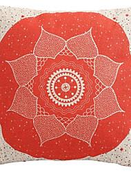 """Createforlife ® 18 """"x 18"""" Quadratisch Rot Mittel Blumen Polka punktierte Baumwolle / Leinen Dekorative Kissen"""