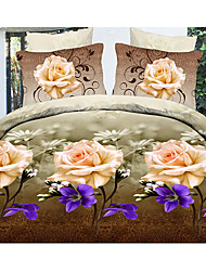 Ailianna 4 Piece Elegant 3D Floral Print Duvet Set