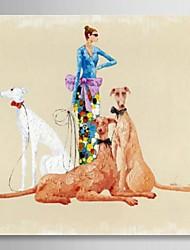 peint à la main des gens de peinture à l'huile dame avec le sien animaux avec cadre étiré