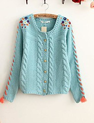 Lâche chanvre broderie de fleurs Cardigan Sweater