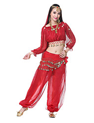 Belly Dance Outfits Women's Performance Silk Beading / Coins / SequinsApple Green / Black And Gold / Dark Green / Fuchsia / Light Blue /