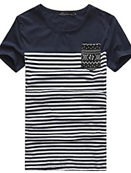 Herren Rund Lässige Short Sleeve Striped Stitching-T-Shirt