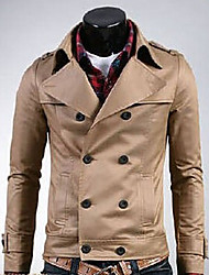 Casual manga comprida Jacket Masculina Kuxing cor sólida com Bottons (Khaki)