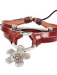 Women's Tie Lucky Flower Beads Leather Braided Bracelets