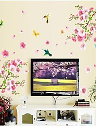 Doudouwo® Florals The Beautiful Peach Blossom And Butterflies Wall Sticker