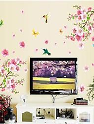 Doudouwo ® floral La belle Peach Blossom et papillons autocollants mur