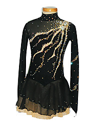 Robe de Patinage Femme Fille Manches longues Patinage Jupes & Robes Robe de patinage artistique Spandex Noir Tenue de PatinageUtilisation