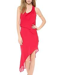 Frauen asymmetrische Design ärmel Langes Kleid