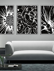 Black And White Flower Framed Canvas Print Set of 3